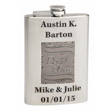 Wedding Flask for the Best Man with Metal Emblem