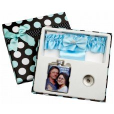 3oz Garter Belt Flask with Picture of the Bride and Groom