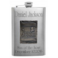 8oz Engraved Wedding Flask for the Groom