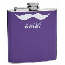 Purple Mustache Flask for the Ladies, 6oz