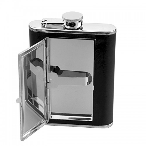Executive Flask with Cigarette Case and Leather Wrap | Flasks.com