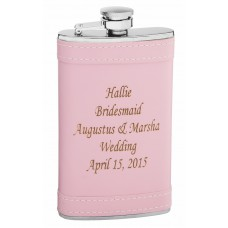 6oz Pink Flask with Custom Laser Engraving