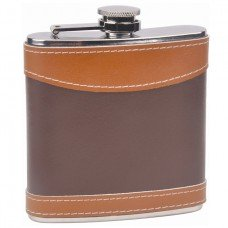 Two Tone Leather Hip Flask, 6oz