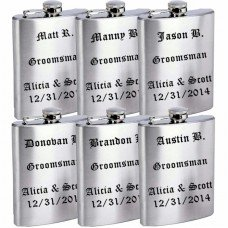 Wedding Flasks for Groomsmen, Set of 6 with Funnels