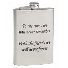 Laser Engraved 8oz Mirror Finish Hip Flask