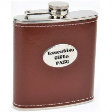 Brown Hip Flask with Engraving Area