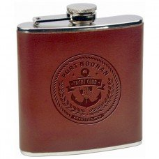 Personalized Engraved Hip Flask, 6oz Brown Leather