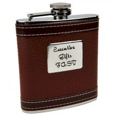 Personalized Faux Leather 6oz Hip Flask with Free Engraving