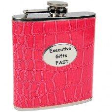 Pink Eel Skin Pattern 6oz Hip Flask