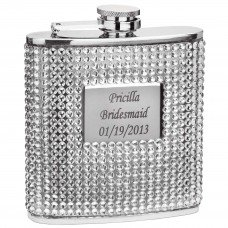 Silver Crystal Bead and Rhinestone 6oz Hip Flask