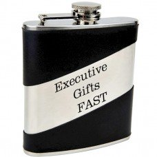 Split Leather Hip Flask with Engravable Surface