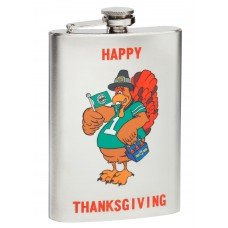 "Happy Thanksgiving ""Turkey Day"" Mirror Polished Hip Flask"