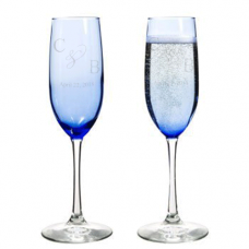 Personalized - Blue Wedding Champagne Flutes