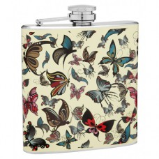 6oz Hip Flask with Many Beautiful Butterflies