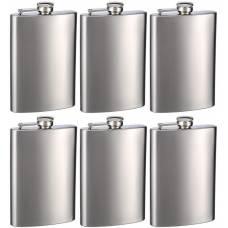 Engraved Top Shelf Flasks Premium Stainless Steel Hip Flasks, 8 oz, Set of 6