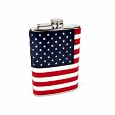 8oz Stitched American Flag Flask - No Engraving